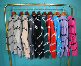Wholesale full button sweater resale online - High quality B family double layer jacquard couple s loose all match knitted sweater with full printing letters