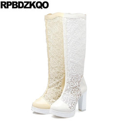 Wholesale lace fetish resale online - Fetish Big Size Women Patent Leather Cheap Mesh Lace White Wedding Boots Extreme Bridal High Heel Sandals Shoes Chunky Knee