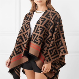 Wholesale women cardigans resale online - 2020 Autumn Winter Cardigan Women Thick Warm Plaid Poncho and Wrap Plus Size Knitted Pashmina Cashmere Sweaters Cape