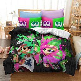 orange 3d bedding set Canada - Popular Splatoon 2 Game Printed Bedding Set 3d Cartoon Duvet Cover Set Pillow Case Twin Full Queen King Size Bed Linen Bed Sets