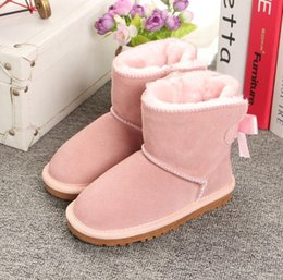 CLASSIC DESIGN SHORT BABY BOY GIRL WOMEN KIDS BOW-TIE SNOW BOOTS FUR INTEGRATED KEEP WARM BOOTS EUR SZIE 25-35 FREE SHIPPING
