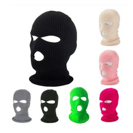 Discount army ski mask Balaclava Ski Mask Hat Winter Cover Army Tactical Mask Halloween Cap For Party 3 Hole Full Face Motorcycle Bicycle Cycli