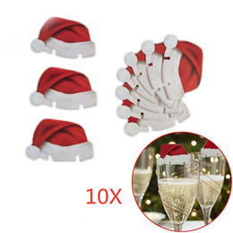 free xmas cards NZ - 10pcs lot Christmas Decorations Hats For Champagne Glass Cup Wooden Red Wine Glass Card Santa Claus Xmas Elk Decoration DHL Free FWA1439