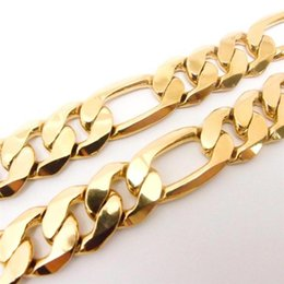12mm figaro chain UK - Men's 18 K Yellow Solid Gold G F Figaro Necklace Chain Link Flat Hammered Wide 12mm 24""
