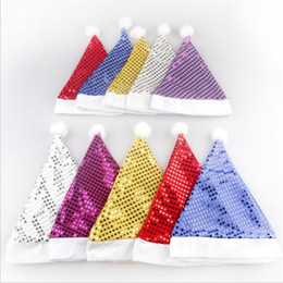 christmas santa hats wholesale Canada - Fashion Bling Christmas Sequin Hats Adult Christmas Hat Christmas Decoration Santa Hat Party Decoration Hat