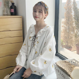 Wholesale girls white blouse lace for sale - Group buy Chic flower embroidery Shirts Long Sleeve Cotton Linen Blouse lace up Shirts loose White Blouse Mori Girl japanese Chemisier