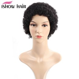 Discount 8inch straight human hair Ishow Straight Short Wigs Brazilian Virgin Hair Kinky Curly Human Hair Wigs with Baby Hair 8inch Swiss Lace