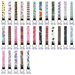 decorations for handbags 2021 - New print design Neoprene Keychain of Phone Straps Lanyard With Wrist Strap Rope For Cell Phone Handbag Decoration disco