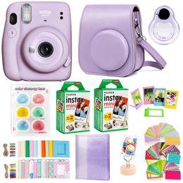 Film Cameras Instax Mini 11 Instant Camera With 40 Sheets Polaroid Paper Shoulder Strap Bag Accessories Bundle Kit