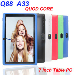 colorful mid tablet pc android NZ - Dual Camera Q88 A33 Quad Core Tablet PC Flashlight 7 Inch 512MB 4GB Android 4.4 kitkat Wifi Allwinner Colorful MID cheapest new