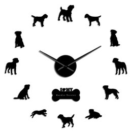 wall border sticker home decor NZ - Gifts Terrier Big Border Decor Borders Giant Dog Diy Mirror Wall Wall Breed Wall Clock Home Art Stickers Watch Frameless Slient XvBJn