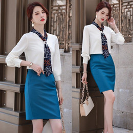 Wholesale blouse skirt style resale online - Fashion Office Ladies Blouses Shirts Women Piece Skirt and Top Sets Long Sleeve White Styles