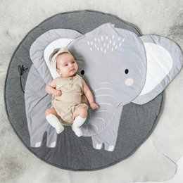 Discount baby land 90CM Creative Elephant Design Baby Play Mat Round Carpet Cotton Animal Playmat Newborn Infant Crawling Blanket Kids Room