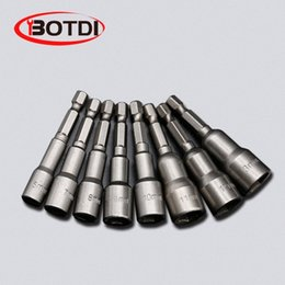 bit adapter Australia - 1SET Magnetic Impact Nut Driver Socket Set Metric 6mm~15mm Impact Grade Nut Setters 6.35mm Hex Shank Drill Bit Adapter Btcg#