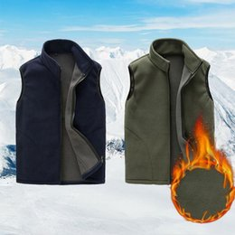 Wholesale fleece vest xl blue resale online - Full Zip Fleece Vest for Winter Warm Stand Collar Spring Soft Solid Color Vest with Pockets Dark Blue Gray
