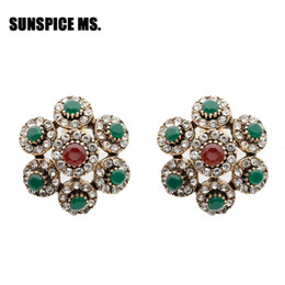 natural stone stud earrings Canada - 2020 Full Rhinestone Round Stud Earrings For Women Turkish Antique Bronze Resin Natural Stone Earring Vintage Crystal Jewlery