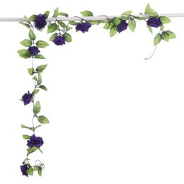 artificial white rose vine NZ - 2.4m Artificial Rose Vine Flowers Rattan String Vine With Green Leaves For Home Wedding Garden Decoration Hanging Garland Wall