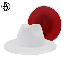 men wedding hats NZ - FS White Red Patchwork Wool Felt Jazz Fedora Hat Women Unisex Wide Brim Panama Party Trilby Cowboy Cap Men Gentleman Wedding Hat