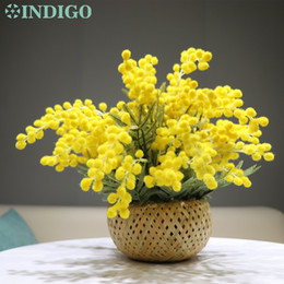 bamboo flower basket UK - INDIGO- Yellow Mimosa Bouquet Flower Arrangement (1Set With Bamboo Basket) Gift Artificial Tea Table Bonsai Event Centerpiece T200916