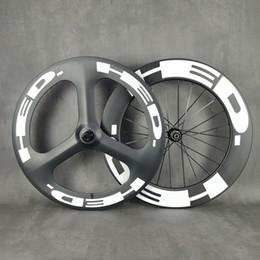 Wholesale HED 700C carbon wheelset roas disc front tri-spoke rear 88mm wheel track road wheelset clincher tuabular with UD matte finish novatec792 hub