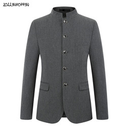 Wholesale men s mandarin collar suit for sale - Group buy Stand Collar Single Breasted Men Gray Suit Jacket Slim Fit Mens Tunic Suit Jacket Solid Color Mandarin Collar Coat