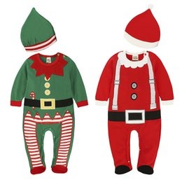 long baby santa hat Australia - Xmas kids clothes girls boys Santa Claus Romper infant Christmas Jumpsuits with hats Spring Autumn fashion baby Climbing clothes Z1587