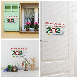 christmas tree posters UK - DHLFREE Quarantine Family Sticker Christmas Ornament cartoon Poster with Face Mask Snowman Wall Window Xmas Party Favor GWB1870