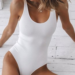 Discount sexy string bodysuit White Strappy Bodysuit Sexy Backless Ribbed Bodysuit Romper string femme sexy Sleeveless Tank Top gloved Body Female