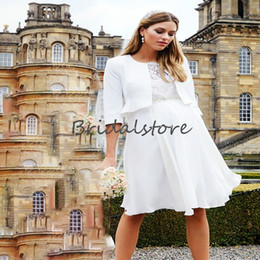 Wholesale white sexy dresses uk for sale – plus size Boho Short Beach Wedding Dresses With Jackets White O Neck Knee Length Chiffon Bohemian Wedding Dress Cheap Lace Bridal gowns uk Sexy