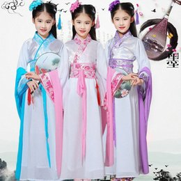 princess dress for kids dance Australia - Kids Traditional Chinese Folk Dance Dress Ancient Costume Hanfu For Girls Tang Princess Costume Child Red Blue Dresses DWY1310 UkG4#
