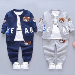 Wholesale turtle boy for sale – custom 3pcs Children Bear Clothes Baby Boys Clothing Sets Autumn Winter Long Sleeve Tracksuits Turtle Neck Outfit For Year