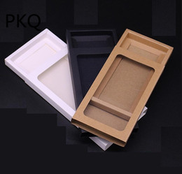 cartons for mobile phones NZ - 30pcs white paper box for packaging kraft paper boxes with pvc window Black Mobile Phone Packaging Gift Box cardboard carton