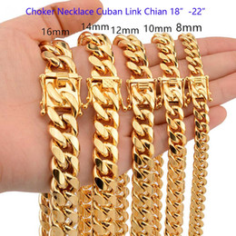 Discount 12mm cuban link chain 8mm 10mm 12mm 14mm 16mm 18mm 18inch-22inch CHOKER NECKLACE High Polished Cuban Link Chains Men Women 316L Stainless Steel Double Safty Clasp