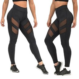 see through yoga pants UK - Legging Women High Waist Mesh Patchwork Pants Fitness Legging Running Gym Trousers See Through Skinny Yoga Pants
