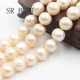 "natural metal jewelry UK - Free Shipping SR 11-14mm AAA Natural Nearly Round Pink Freshwater Pearl Jewelry Making Beads Strand 15"" T200507"