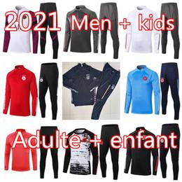 20 21 Bayern Münih Erkekler futbol antrenman eşofman Real Madrid futbol antrenman takım elbise 2020 2021 Ajax MBAPPE survetement ayak chándal koşu