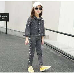 denim for children NZ - Children Outwear Coat Cartoon Denim Jacket For Girls Spring Autumn Kid's Fashion Embroidery Jean Jacket Girls Kids Denim Clothes Y200831