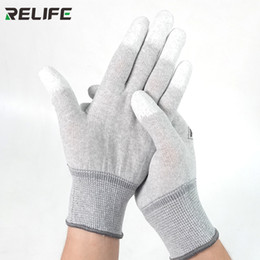electronic work UK - Carbon Anti Static Gloves PU Insulation Coating Finger Protective Electronic Working Gloves for Phone Refurbishment Repair