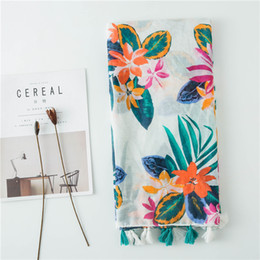Wholesale tropical summer dresses resale online - VISROVER Long Scarves Fashion Scarves Viscose Shaw Hijab Scarf Tropical Print Beach Dress Top Summer Scarf for Women Ladies