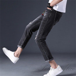 Wholesale embroidered ankle jeans resale online - Men s New Stretch Slim Ripped Jeans Zodiac Chicken Embroidered youth mid rise straight Ankle Length trousers