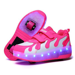 kid shoes wheels Australia - RISRICH Kids LED usb charging roller shoes glowing light up luminous sneakers with wheels kids rollers skate shoes for boy girls LJ200907