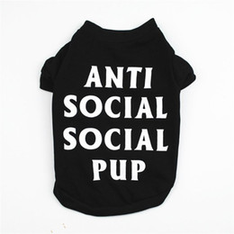 Discount dog design t shirts ANTI SOCILA PUP Design Personality Pet Clothes for Dogs Summer Xxxs Funny Dog Clothes for Pugs Teacup Puppy Dog T-shirt