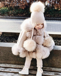 Wholesale brown fur poncho for sale - Group buy Infant Baby Girl Princess Coat Fashion Winter Warm Fur Hooded Cloak Jacket Children poncho Clothing Kids Girls Cute Outerwear