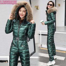 Wholesale jumpsuit women hoodie for sale – designer Real raccoon fur collar Women Winter Hoodie Coat One Piece Ski Jumpsuit Breathable Snowboard Jacket Skiing Pant Sets parkas outw