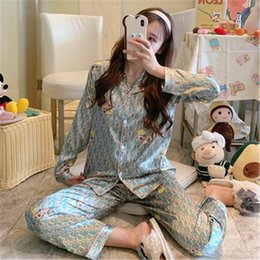 Wholesale man pajama silk for sale - Group buy New Pajamas Couples Unisex Silk Flower Printed Sleepwear Soft Pyjama Sets Women Pajama Sets Long Sleeve Men Lounge Pijamas