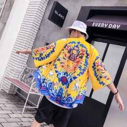 Wholesale long kimono style tops for sale - Group buy Men Dragon Cardigan Chinese Style Long Kimono Cardigan Male Loose Beach Male Casual Jacket Coat Tops