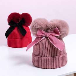kids knit hats NZ - Baby Stuff Double Pompom Hat Winter Knitted Kids Baby Girl Hat Warm Thicker Children Infant Beanie Cap Bonnet Casquette Enfant Toddler Girls