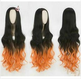 girl cosplay long black hair UK - Demon Slayer:Kimetsu No Yaiba Kamado Nezuko Long Wavy Black Orange Synthetic WIG
