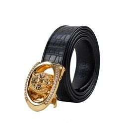 tiger head belt UK - Kemeiqi High-end Leather Fashion Buckle Point Drill Tiger Head Pure Men's Belt