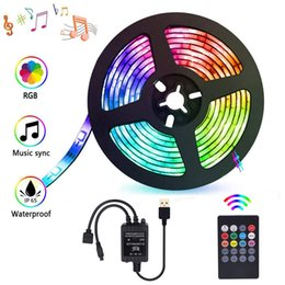 rgb led strip 5v UK - Led Strip Lights Sync To Music ,Rgb Tv Backlight ,Usb Color Change Light Strips For Hdtv ,Dimmable 5050 30 Led  M With Remote